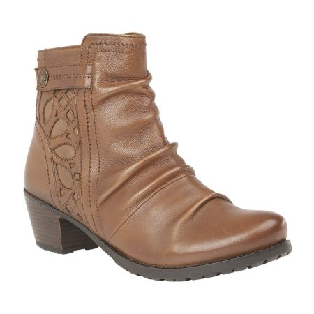Lotus Maples Tan Leather Ankle Boots