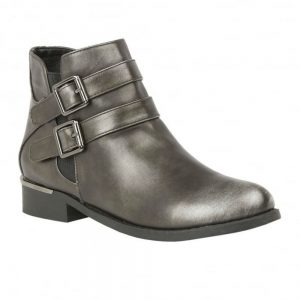 Lotus Palm Metallic Pewter Flat Ankle Boots