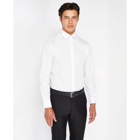 remus uomo white tapered fit