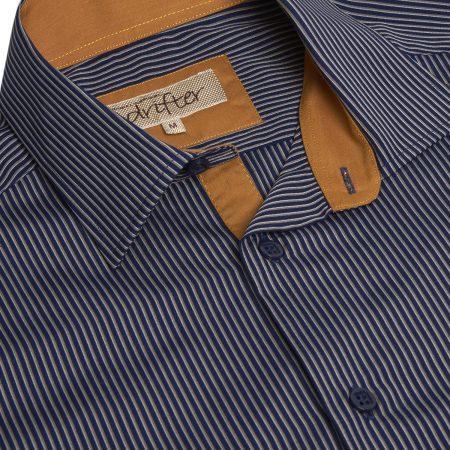 Drifter Navy Stripe Print Smart Shirt