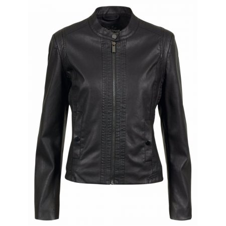 Brandtex Faux Leather Black Casual Outerwear