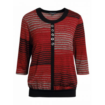 Brandtex Red Avenue Three Quarter Sleeve Top