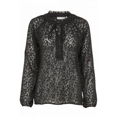 Fransa Long Sleeved Tie Front Lace Look Blouse