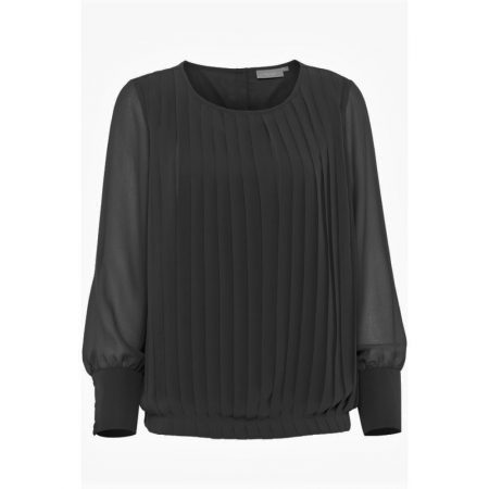 Fransa Long Sleeve Pleated Front Blouse