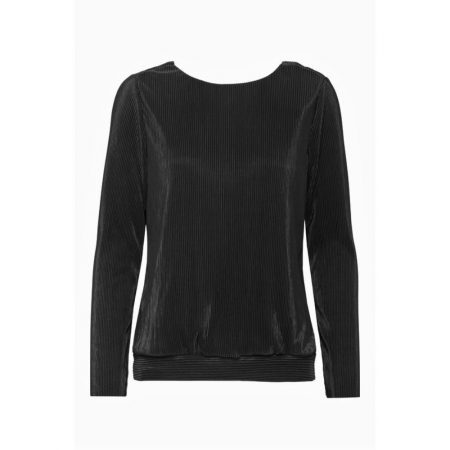 Fransa Long Sleeve Pleated Black Blouse