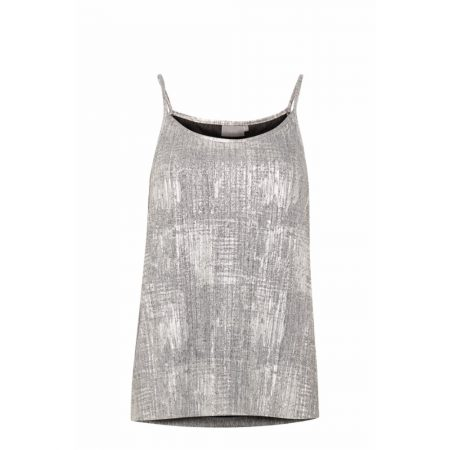 Fransa Limetallic Tight Pleated Silver Top