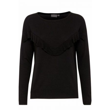 Fransa Black Ruffle Detail Knitwear