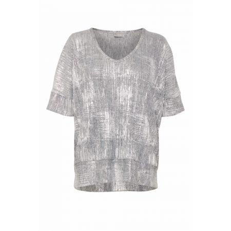 Fransa Limetallic Silver V-neck Tshirt