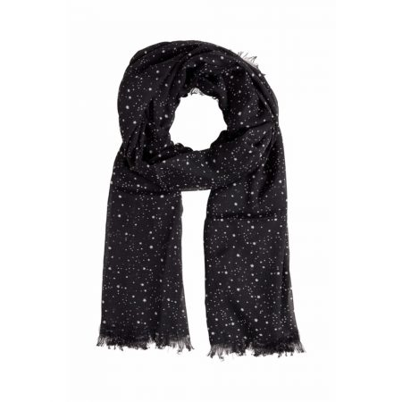 Fransa Multi Star Print Black Scarf