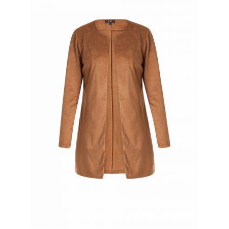 Yest Suede Effect Longline Jacket Cognac
