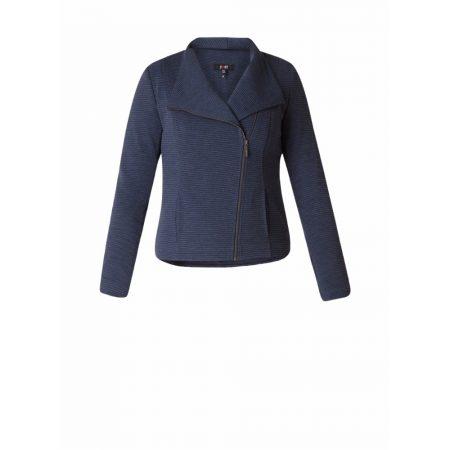 Yest Ribbed Blue Casual Zipped Jacket