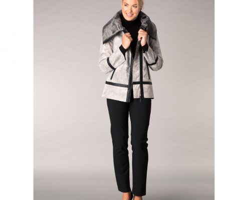 Yest Grey Multi Faux Sheepskin Jacket
