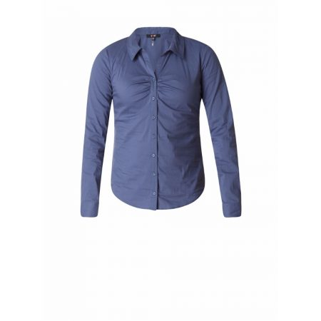 Yest Fitted Buttoned Blouse Indigo