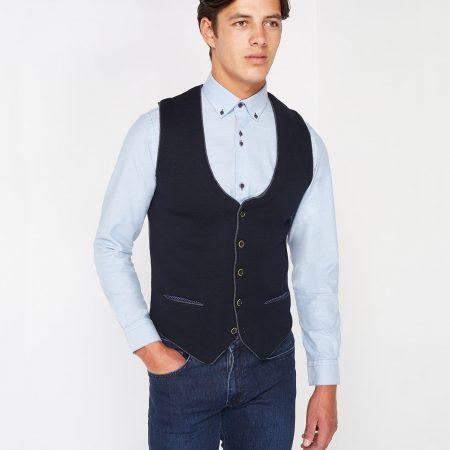 Remus Uomo navy knitted waistcoat 58176/78