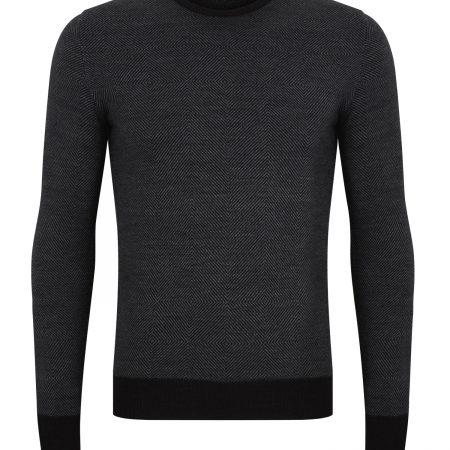 Remus Uomo grey slim fit merino wool mix jumper 58291/09