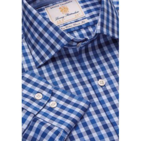 Brook Taverner Navy Check Long Sleeve Shirt
