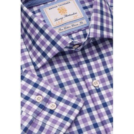 Brook Taverner Lilac Check Long Sleeve Shirt