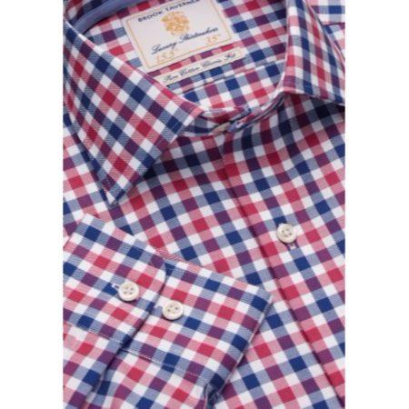 Brook Taverner Navy Check Long Sleeved Shirt