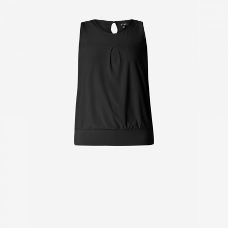 Yest Black Pleat Front Sleeveless Top