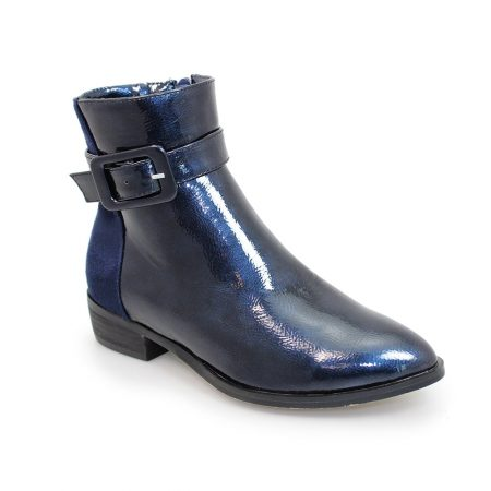 Lunar Croft Navy Patent Ankle Boots
