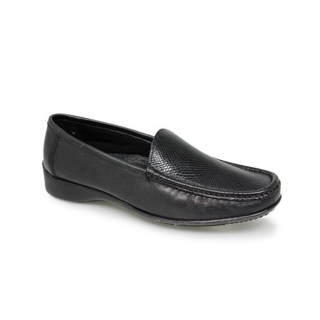 Lunar Jenny Black Leather Loafer Shoes