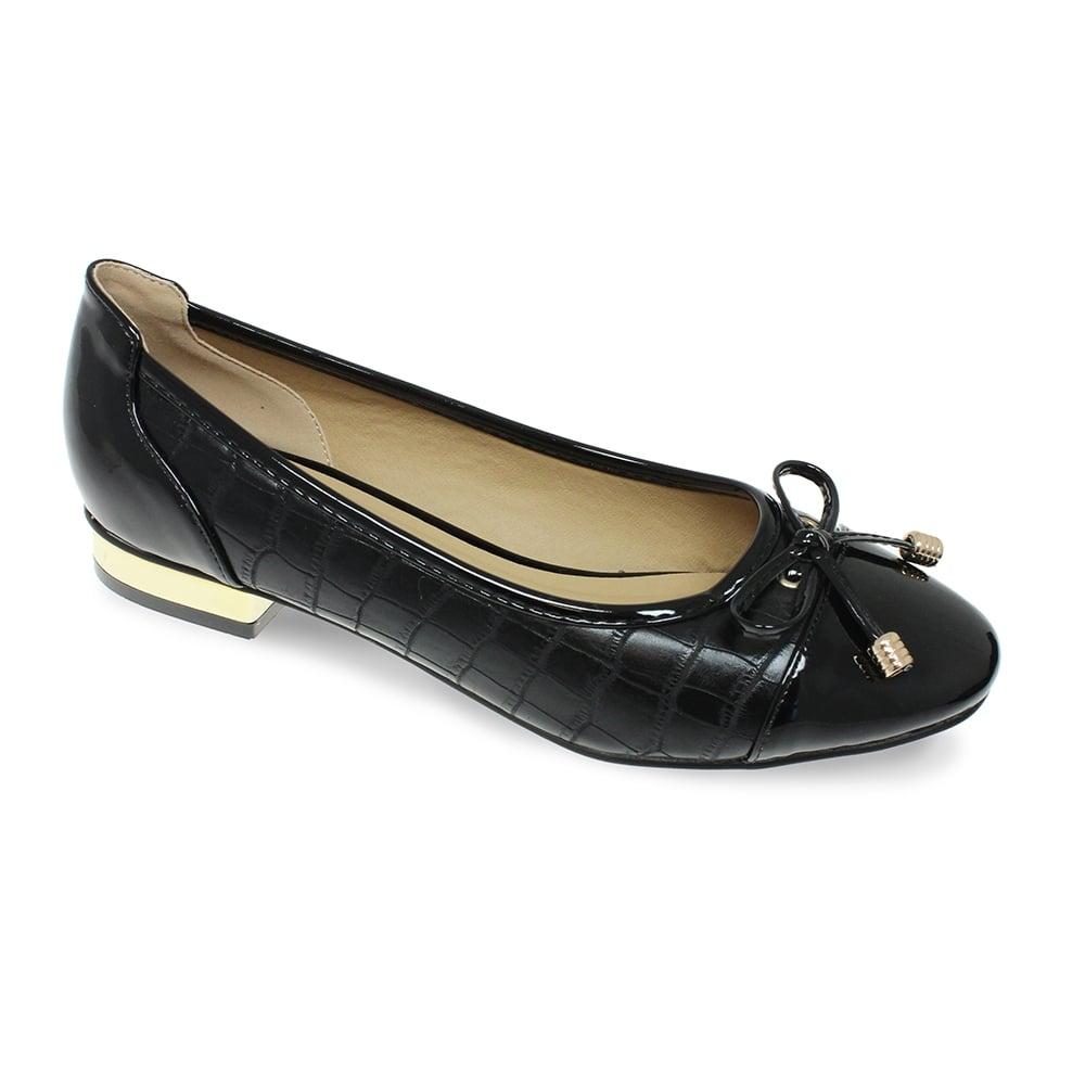 Lunar Palmer Black Patent Flat Shoes