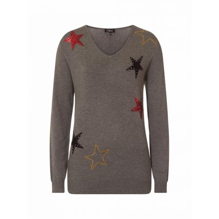 Emreco Suri Charcoal Star V Neck Knitwear