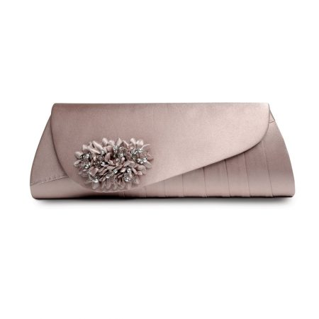 Lunar Sabrina Taupe Satin Evening Bag