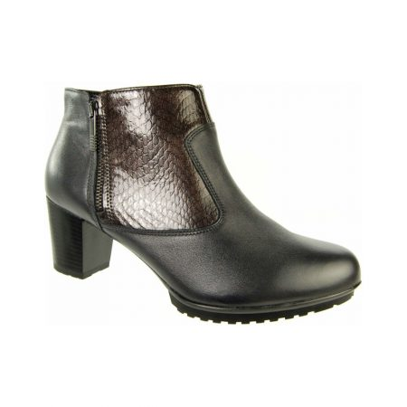 Alpina Sanya Black Leather Heeled Ankle Boots