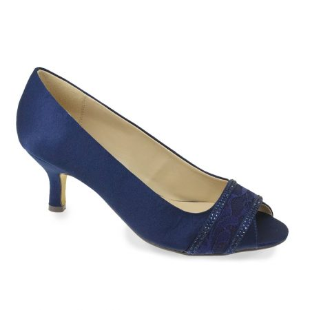 Lunar Casely Navy Satin Kitten Heels
