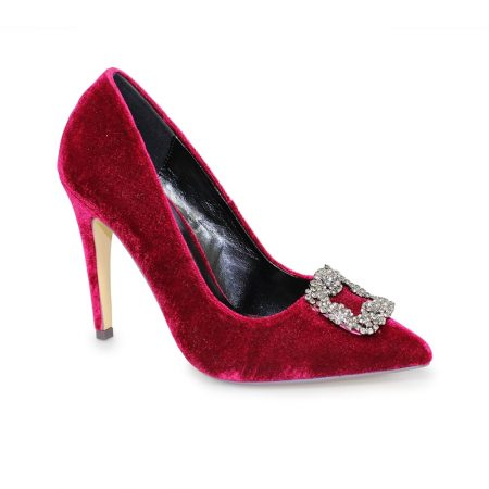 Lunar Celeste Burgundy Velvet High Heels