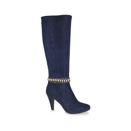 Lunar Chase Navy Knee High Heeled Boots