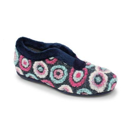 Lunar Circles Blue Pattern Full Slippers