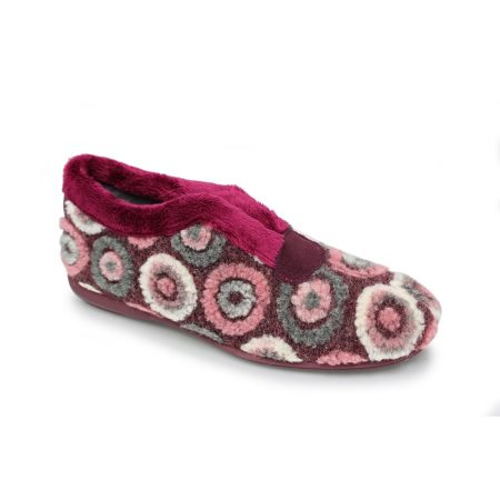 Lunar Circles Burgundy Pattern Full Slippers