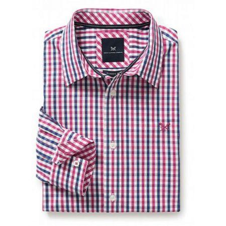 Crew Clothing Navy Cherry Check Shirt