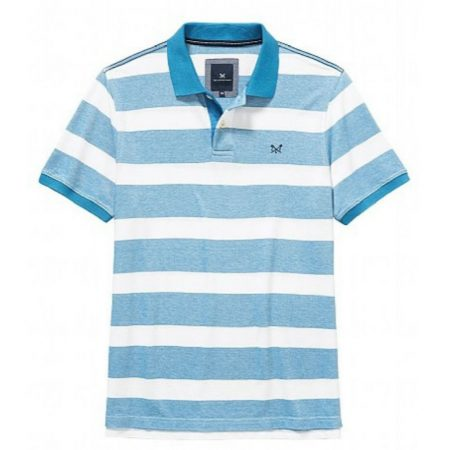 Crew Clothing Turquoise Striped Polo