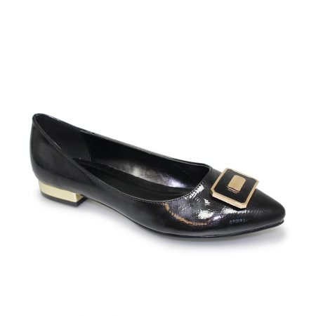 Lunar Davies Black Patent Flat Shoes