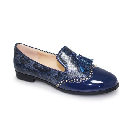 Lunar Francine Navy Patent Loafer Shoes