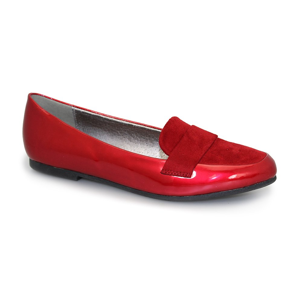 Lunar Iris Red Patent Flat Loafer Shoes