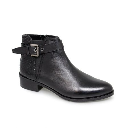 Lunar Josephine Black Leather Ankle Boots