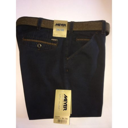 Meyer Cotton Stretch Chicago Trouser - Navy Blue