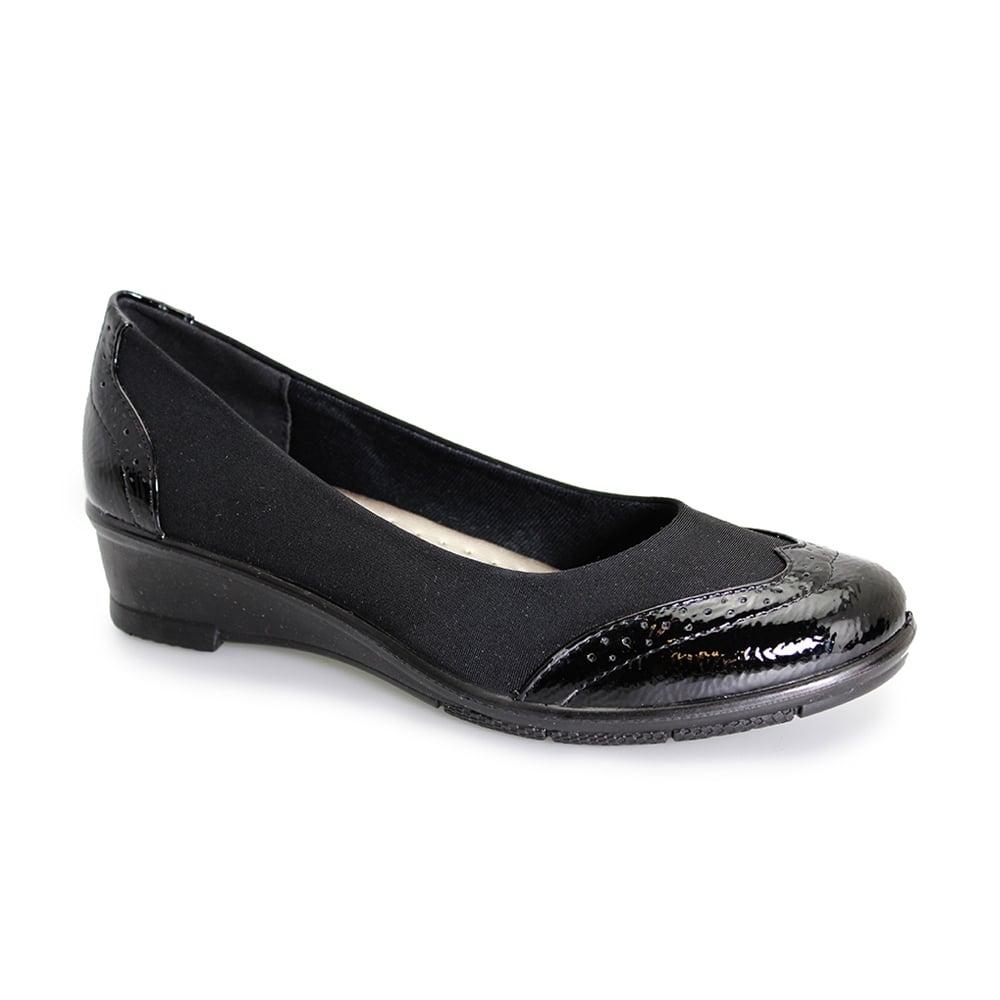 Lunar Comfort Natasha Black Wedge Shoes