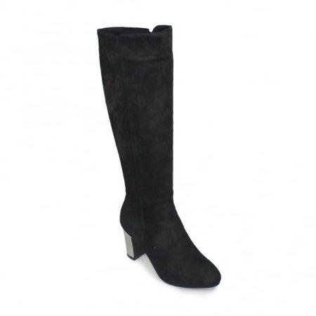 Lunar Ramsay Black Knee High Heeled Boots