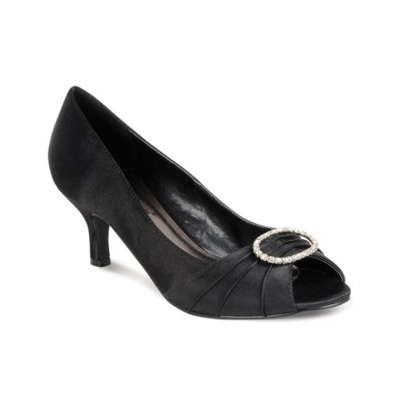 Lunar Rochelle Black Satin Kitten Heel Dress Shoes