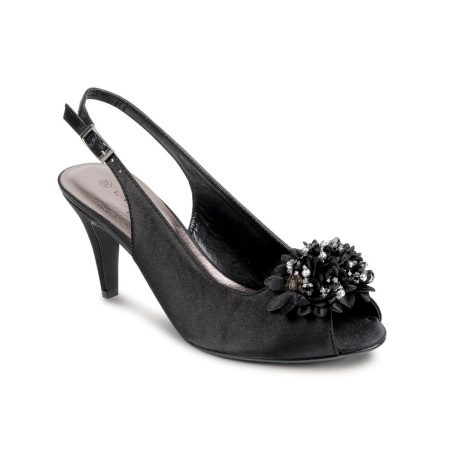 Lunar Sabrina Black Satin Heeled Sandals
