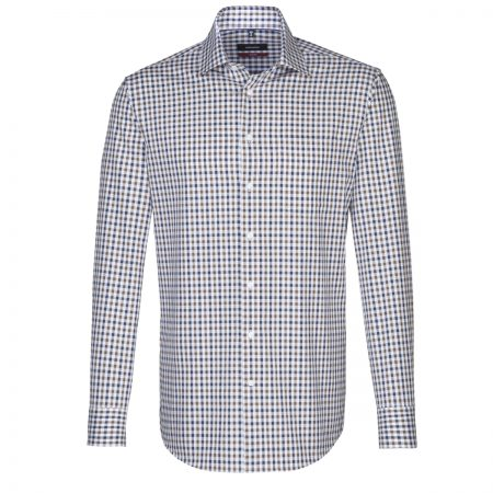 Seidensticker Navy Brown Check Shirt