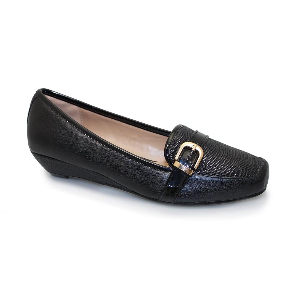 Lunar Tabby Black Wedge Heel Shoes