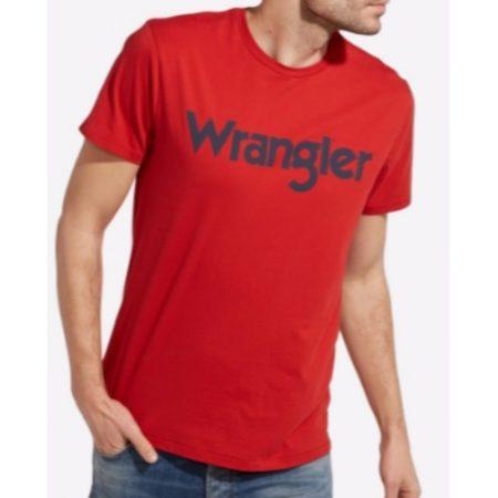 Wrangler Logo T shirt Pompeian Red