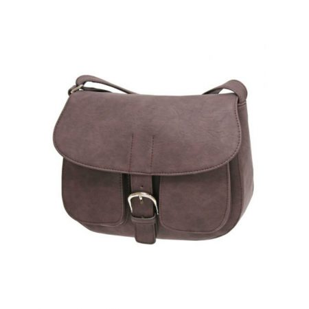 Envy Brown Nubuck Effect Saddle Shoulder Bag