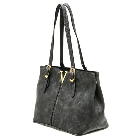 Envy Dark Grey Croc Print Handbag